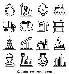 ensemble, blanc, vecteur, industrie, arrière-plan., icônes, style, ligne, huile, essence