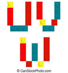 ensemble, blocs, alphabet, isolé, construction, iso, brique jouet, fait