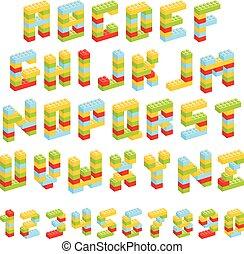 ensemble, blocs, alphabet, isolé, jouet, fait