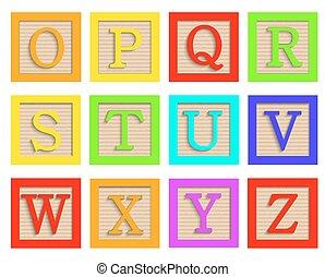 ensemble, blocs, bois, alphabet, moderne, vecteur