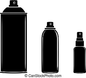 ensemble, boîte, cosmétique, pulvérisation, vecteur, aérosol, bouteille