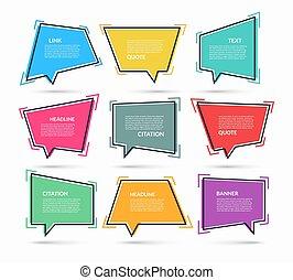 ensemble, boîtes, citation, message, bulles, ballons, isolé, texte, illustration., autocollants, parole, vecteur, blanc, arrière-plan.