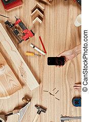 ensemble, bois, charpentier, s, fond, outils