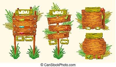 ensemble, bois, formes, vecteur, divers, signes, dessin animé