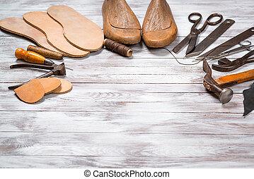 ensemble, bois, space., arrière-plan., cordonnier, copie, outils, blanc