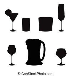 ensemble, boissons alcooliques, vecteur, icône