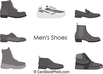ensemble, boots., hommes, isolé, collection, mens, arrière-plan., chaussures, blanc