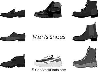 ensemble, boots., hommes, isolé, collection, mens, arrière-plan., vecteur, illustration, blanc, chaussures