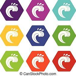 ensemble, bordage, couleur, hexahedron, vague grand, icône