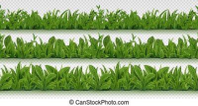ensemble, border., printemps, seamless, isolé, réaliste, vecteur, vert, arrière-plan., herbes, modèle, herbe, 3d