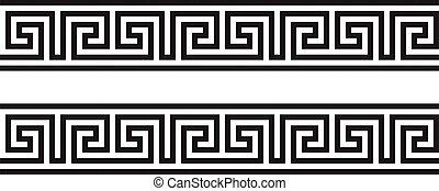 ensemble, borders., grec, méandre, ancien, ornements, wave.