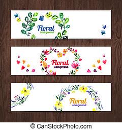 ensemble, bouquet., aquarelle, vecteur, invitation, floral, bannières, carte