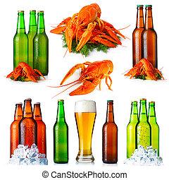 ensemble, bouteilles, apéritifs, isolé, bière, fond, blanc, lunettes