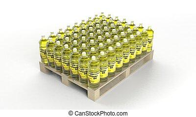 ensemble, bouteilles, bois, palette, isolé, arrière-plan., huile, blanc