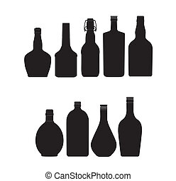 ensemble, bouteilles, couleur, résumé, symboles, noir