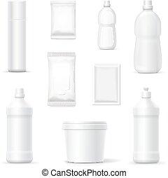 ensemble, bouteilles, ménage, détergents, produits, nettoyage, paquets, ou
