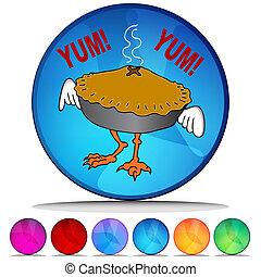 ensemble, bouton, tarte, cristal, poulet, pot