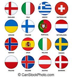 ensemble, -, boutons, 2, drapeaux, rond