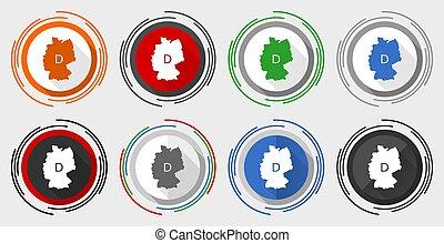 ensemble, boutons, carte, eps, 10, allemagne, vecteur, icônes, toile, coloré