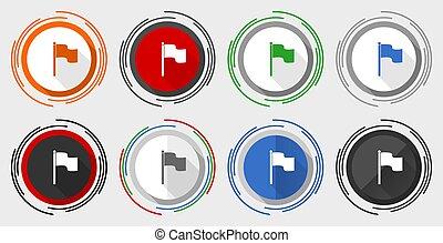 ensemble, boutons, eps, 10, drapeau, vecteur, icônes, toile, coloré
