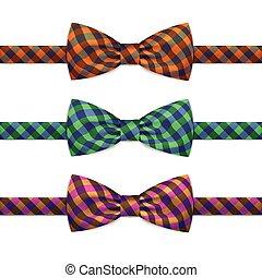 ensemble, bowtie, isolé, arc, vecteur, cravate, blanc