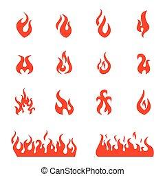 ensemble, brûler, flammes, icônes, illustration, vecteur