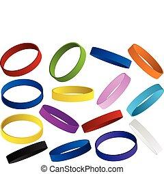ensemble, bracelet, coloré