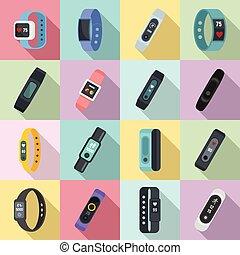 ensemble, bracelet, fitness, style, plat, icônes