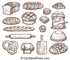 ensemble, bread., boulangerie, lot, frais, types