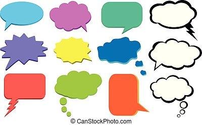 ensemble, bulle, coloré, pensées, vecteur, penser, nuage