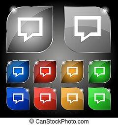 ensemble, bulle, dix, signe., glare., boutons, vecteur, parole, coloré, penser, nuage, icône