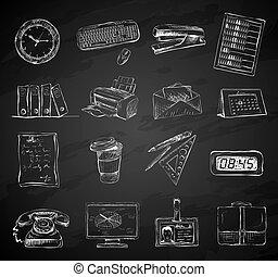 ensemble, bureau affaires, icônes, approvisionnements papeterie