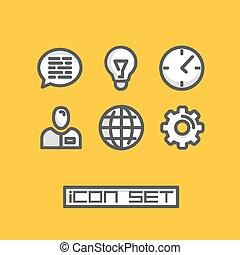 ensemble, bureau affaires, icônes
