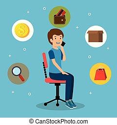 ensemble, bureau affaires, icônes, jeune, chaise, homme