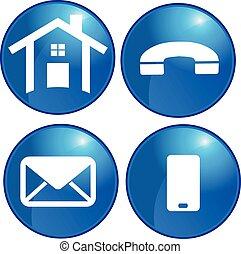 ensemble, bureau affaires, icônes, maison, vecteur, communication