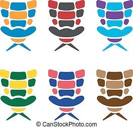 ensemble, bureau, coloré, vecteur, conception, gabarit, fauteuils