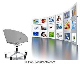 ensemble, bureau, fauteuil, clair, statique, images, coloré...