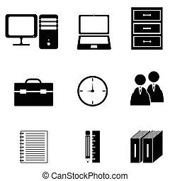 ensemble, bureau, icône
