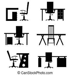 ensemble, bureau, illustration, chaise bureau, vide