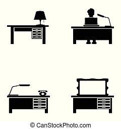 ensemble bureau, noir, icônes
