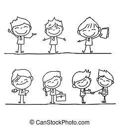 ensemble, business, caractère, main, personne, dessin animé,...