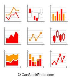 ensemble, business, coloré, diagrammes, infographic, 2., diagrammes