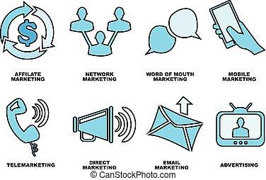 ensemble, business, commercialisation, main, vecteur, dessiné, promotion, icône