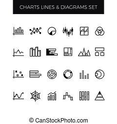 ensemble, business, diagrammes, graphiques, vecteur, ligne, diagrammes