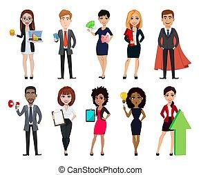 ensemble, business, dix personnes, caractères, dessin animé