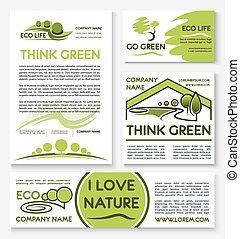 ensemble, business, eco, conception, gabarit, vert, bannière