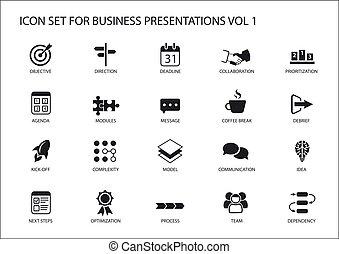 ensemble, business, générique, présentations, diapositives, ...