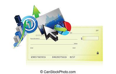 ensemble, business, graphique, illustration, conception, chèque, banque