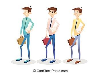 ensemble, business, jeune, collection, directeur, valise, homme affaires, prise, document, homme