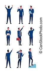 ensemble, business, positions, collection, longueur, entiers, homme affaires, homme, icône